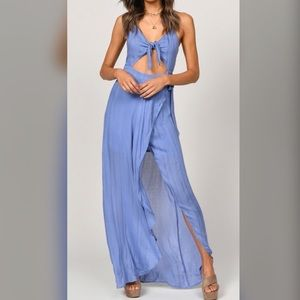 Front Tie Maxi Dress- Periwinkle Slate
